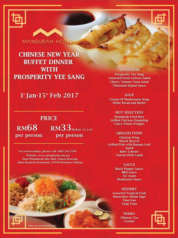 CHINESE NEW YEAR BUFFET DINNER WITH PROSPERITY YEE SANG